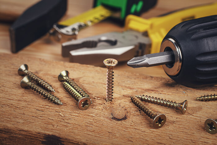 Screws and a drill
