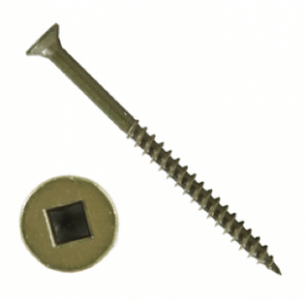 GREEN SQUARE RECESSED DECKING SCREWS IN TUBS
