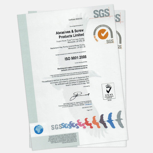 ISO Certificate | Abrasives & Screw Products LTD