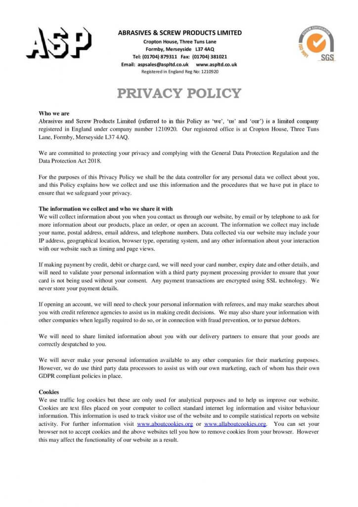 Privacy Policy 2019